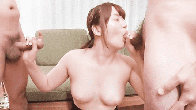 Japanese threesome Passionate woman applies sensual blowjob on dicks