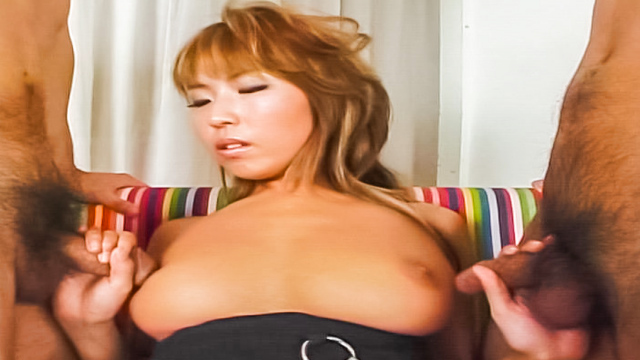Megu Hagiwara, naughty Asian babe with big tits in threesome - Jav HD Videos