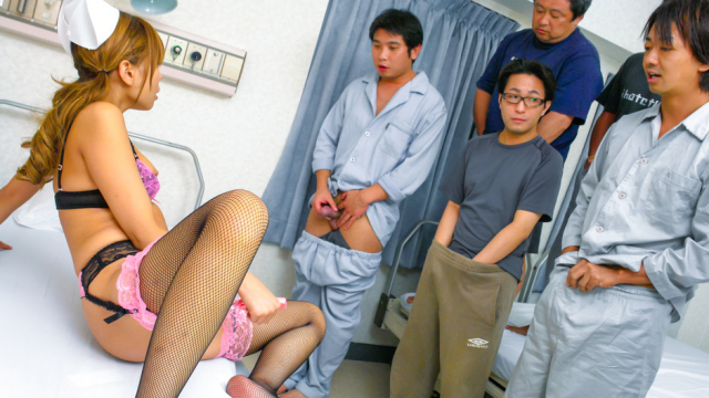 Japan Videos Nurse Aya in sexy lingerie fucked in a crazy gangbang